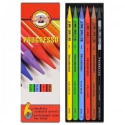 Карандаши цветные бездревесные 6 цв., PROGRESSO, Koh-I-Noor