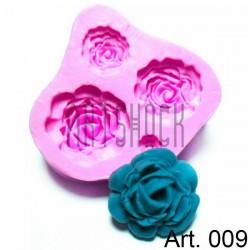 Силиконовый молд 3D (вайнер), розы, размер 7 х 7.5 см., толщина 1.7 см., REGINA