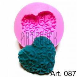 Силиконовый молд 3D (вайнер), сердце, диаметр 4.8 см., толщина 1.3 см., REGINA