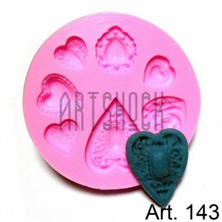 Силиконовый молд 3D (вайнер), сердца, диаметр 7.3 см., толщина 0.8 см., REGINA