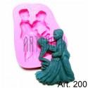Силиконовый молд 3D (вайнер), влюблённая пара, размер 7 х 8.5 см., толщина 1.5 см., REGINA