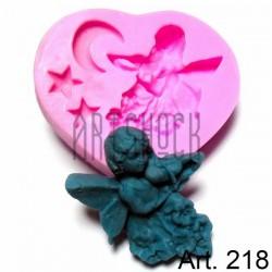 Силиконовый молд 3D (вайнер), ангел в ночи, размер 6.7 х 7.5 см., толщина 1.5 см., REGINA