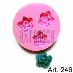 Силиконовый молд 3D (вайнер), цветы, диаметр 4.7 см., толщина 1.4 см., REGINA