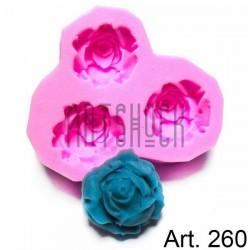 Силиконовый молд 3D (вайнер), цветы, размер 6.5 х 6.5 см., толщина 1.7 см., REGINA