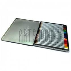 Карандаши цветные, шестигранные, 24 шт., в металлическом пенале, Marco Raffine