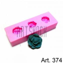 Силиконовый молд 3D (вайнер), цветы, размер 2.5 х 7.5 см., толщина 1.5 см., REGINA