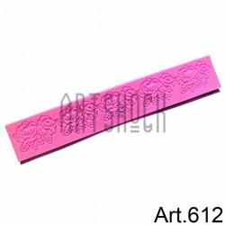 Силиконовый молд 3D (вайнер), цветы бордюры-2, размер 19.5 х 3.3 см., толщина 0.4 см., REGINA