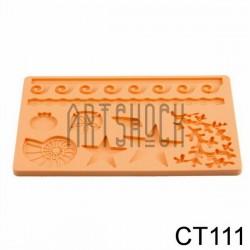 Силиконовый молд 3D (вайнер), морская жизнь, размер 12 х 18.5 см., толщина 0.7 см.