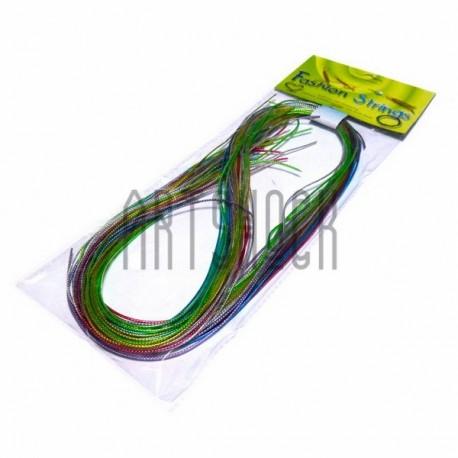 """Набор трубочек для плетения """"Скубиду"""", цветные с люрексовой нитью, длина 100 см., 20 штук"""