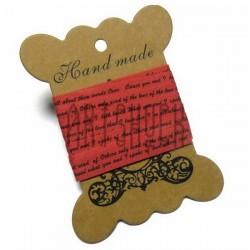 """Лента декоративная хлопковая с принтом, """"Красная"""", ширина 10 мм., длина 2 м., Hand Made"""