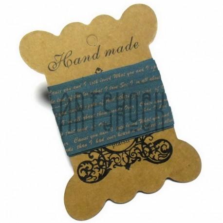 """Лента декоративная хлопковая с принтом, """"Синяя"""", ширина 10 мм., длина 2 м., Hand Made"""