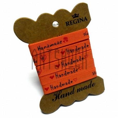 """Лента декоративная хлопковая с принтом """"Hand Made"""", оранжевая, ширина 10 мм., длина 2 м., REGINA"""