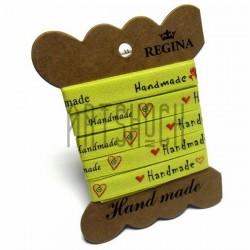 """Лента декоративная хлопковая с принтом """"Hand Made"""", лимонная, ширина 10 мм., длина 2 м., REGINA"""