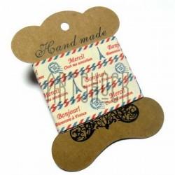 """Лента декоративная хлопковая с принтом, """"Парижская почта"""", ширина 15 мм., длина 1.5 м., Hand Made"""