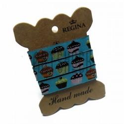 """Лента декоративная хлопковая с полноцветной печатью, """"Маффины"""", ширина 15 мм., длина 1 м., REGINA"""