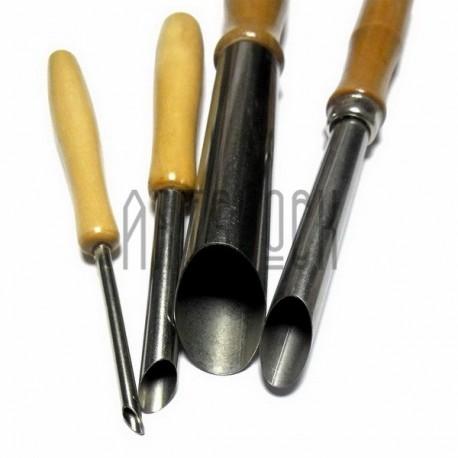 Набор металлических трубчатых стеков на деревянной ручке для лепки и работы со скульптурным пластилином и глиной