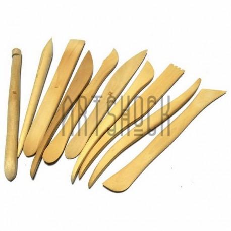 JR 1-1 Набор деревянных скульптурных стеков для лепки из глины и пластилина, 10 штук купить в Киеве и Украине