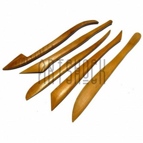 Стеки для лепки скульптурные, деревянные, 5 штук в наборе | Инструменты для пластики и лепки в Киеве и Украине