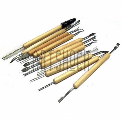 Набор скульптурных стеков для лепки, металлические на деревянной ручке, 11 предметов, Maries купить в Киеве