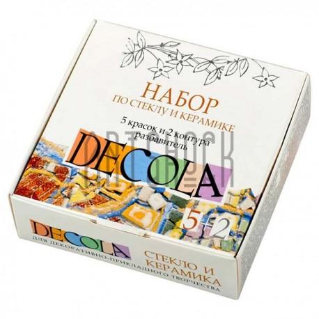 Набор акриловых красок по стеклу и керамике, 5 цветов по 20 мл. + 1 разбавитель + 2 контура в тубах по 18 мл., Decola