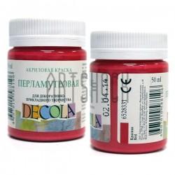 Краска акриловая перламутровая, красная, 50 мл., Decola