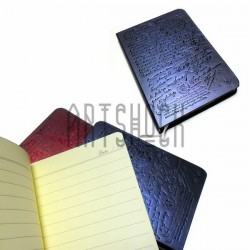 """Блокнот """"Винтажное письмо"""" синий, с золотым торцом, 90 х 128 мм., 96 листов, YASAC"""