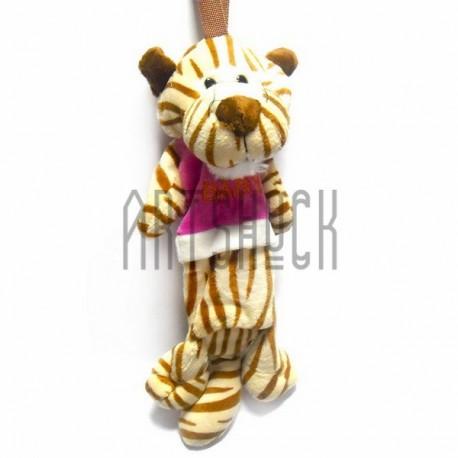 """Плюшевая  игрушка - пенал """"Тигр в футболке BABY"""" с петелькой"""