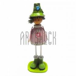 """Деревянная статуэтка на полку """"Пастушок в зеленой шляпке"""""""