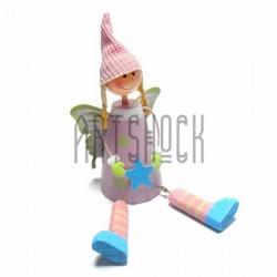 """Деревянная статуэтка на полку """"Фея в розовом"""" со свисающими ножками"""