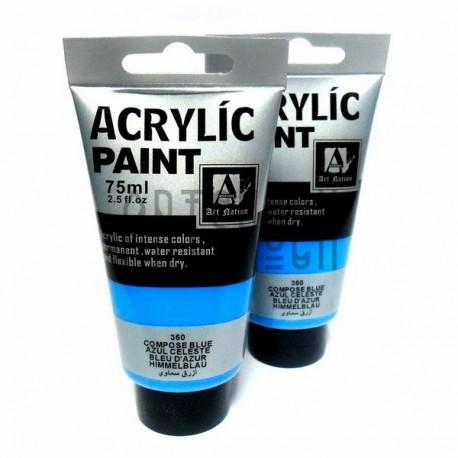 Краски акриловые художественные, Светло - синий / Compose Blue, 75 мл., Art Nation