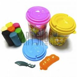 Пластилин детский, мягкий, 7 цветов с формочкой и ножом, в ведёрке