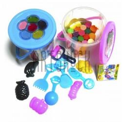 Пластилин детский мягкий, 18 цветов с 5 формочками, 4 лопатками, грабельками и валиком, в ведёрке с акварельными красками