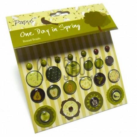 Набор брадсов для скрапбукинга One Day in Spring, 23 штуки, Papus