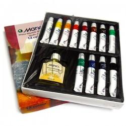 Краски маcляные, 12 цв. по 12 мл. + льняное масло 60 мл., Maries