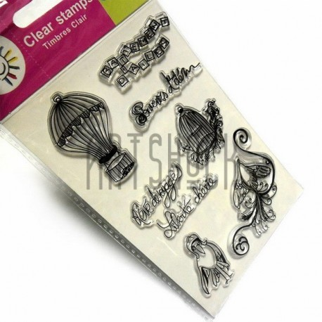 """Штампы для скрапбукинга (силиконовые штампы), набор """"Взмах крыльев"""", 9.5 х 14.5 см."""