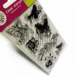 """Штампы для скрапбукинга (силиконовые штампы), набор """"Птицы и цветы"""", 9.5 х 14.5 см."""