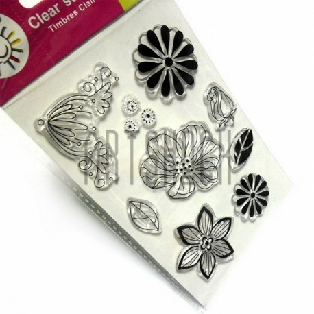 """Штампы для скрапбукинга (силиконовые штампы), набор """"Цветы и листья"""", 9.5 х 14.5 см."""