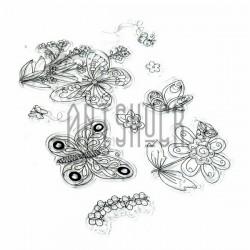 """Штампы для скрапбукинга (силиконовые штампы), набор """"Butterflies and flowers"""", 15 х 20.5 см."""