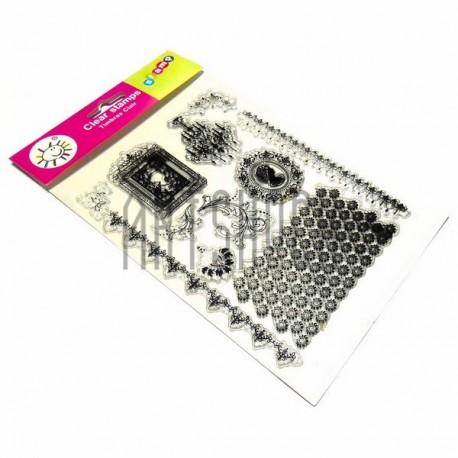 """Штампы для скрапбукинга (силиконовые штампы), набор """"Стиль Барокко"""", 15 х 20.5 см."""
