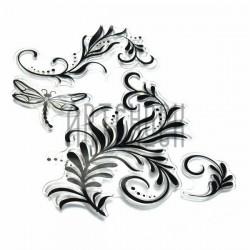 """Штампы для скрапбукинга (силиконовые штампы), набор """"Стрекоза и цветы"""", 15 х 20.5 см."""