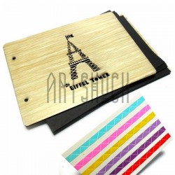 Альбомы для фотографий скрапбукинг Eiffel Tower, под дерево, светлый, 21.5 х 15.5 см.