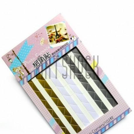 Уголки на клеевой основе для скрапбукинга Photo Corners, цвет перламутровый, 102 штуки