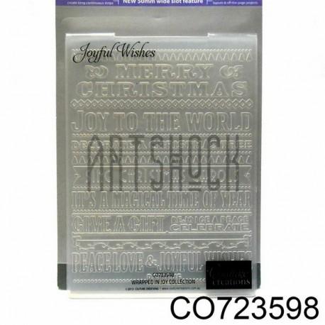 """Папка для тиснения эмбоссинг для скрапбукинга Joyful Wishes"""", размер 10.5 х 14.3 см., Couture Creations"""""""