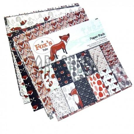 "Набор бумаги для скрапбукинга ""A Fox's Tale"", 12 дизайнов по 2 листа, 24 листа, 305 х 305 мм., 160 гр/м²., Docrafts"