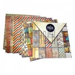 "Набор бумаги для скрапбукинга ""The Postal Service"", 12 дизайнов по 2 листа, 24 листа, 152 х 152 мм., 160 гр/м²., Docrafts"