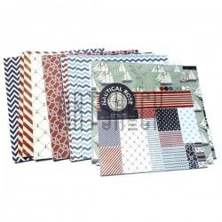 """Набор бумаги для скрапбукинга """"Nautical Rose"""", 12 дизайнов по 2 листа, 24 листа, 152 х 152 мм., 160 гр/м²., Docrafts"""