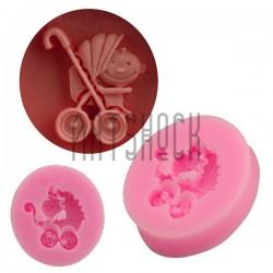 Силиконовый молд 3D (вайнер), коляска малыш, размер 3.5 х 3.5 см., толщина 0.8 см., REGINA