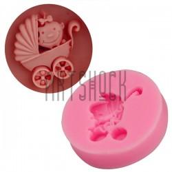 Силиконовый молд 3D (вайнер), коляска малышка, размер 3.5 х 3.5 см., толщина 0.8 см., REGINA