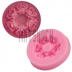 Силиконовый молд 3D (вайнер), обруч из роз, размер 3.5 х 3.5 см., толщина 0.8 см., REGINA