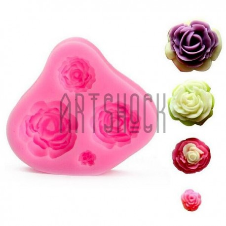 Силиконовый молд 3D (вайнер), 4 розы, размер 7 х 6.5 см., толщина 1.5 см., REGINA